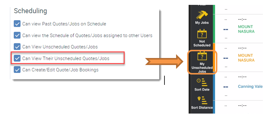 Quickly view only your unscheduled jobs